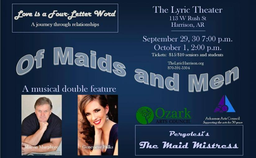 Opera with a Touch of Broadway…and a Lot of Love! — Of Maids and Men: Friday and Saturday, September 29 & 30 at 7:00, Sunday, October 1 at 2:00 — #LiveAtTheLyric!