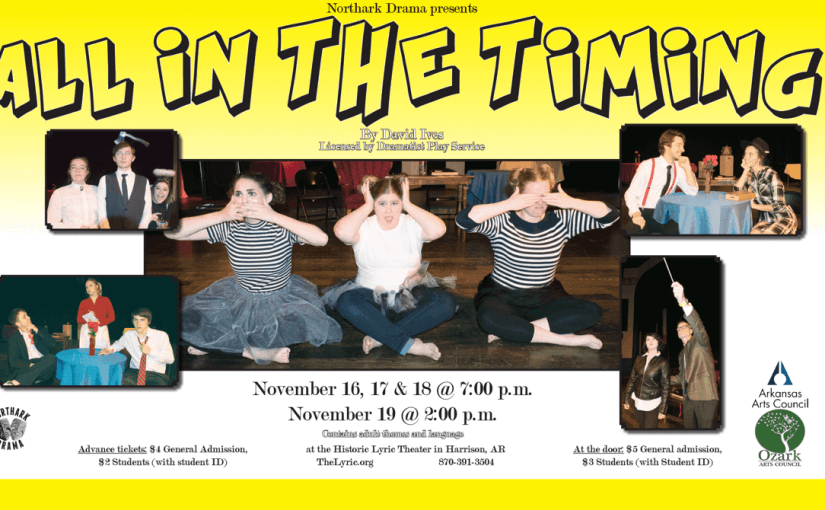 Northark Drama Presents: All in the Timing — Thur–Sat Nov. 16–18 @ 7:00 & Sunday, Nov. 19 @ 2:00 — #LiveAtTheLyric!