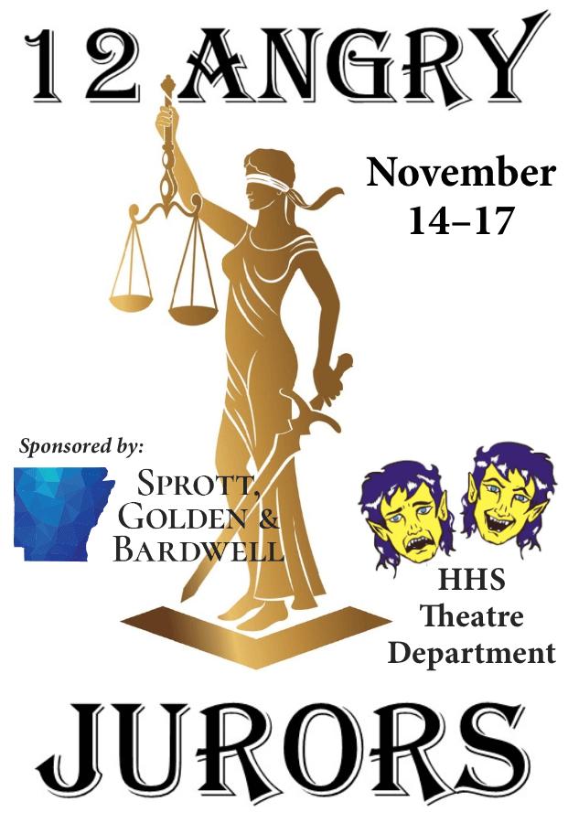 12 Angry Jurors, Thursday & Saturday, November 14 & 16 at 6pm, Friday, Nov. 15 at 5pm, and Sunday Nov. 17 at 2pm! #HHSTheatre!