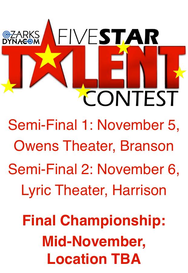 Ozarks DynaCom FiveStar Talent Contest Semi-Finals, November 6 at 7pm #LiveAtTheLyric!